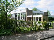 Front view of our school - summer scene